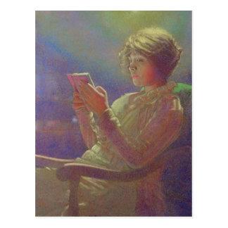 Mujer Reading, 1921 Postal