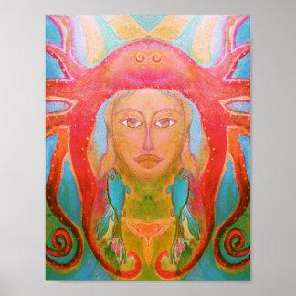 Mujer retra del Hippie del poster psicodélico del