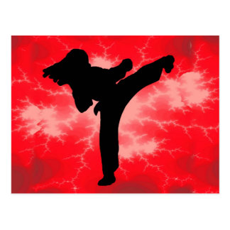 Mujer roja del relámpago de los artes marciales postal
