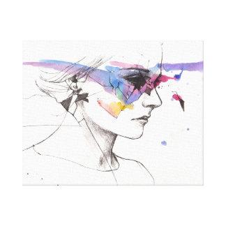 Mujer simple de la belleza en perfil impresión en lienzo