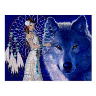 Mujer y diseño azul 2 del nativo americano del postal