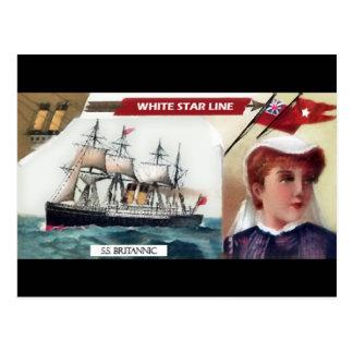 Mujer y estrella del blanco postal