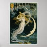 Mujer y luna mágicas del arte del poster del vinta