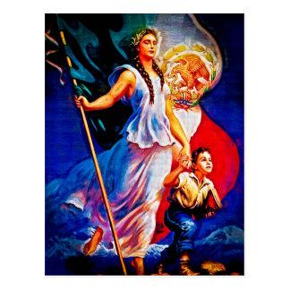 Mujer y niño de la bandera mexicana postales