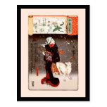 Mujer y perro de Kuniyoshi del vintage en bella ar Postales