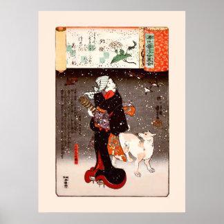 mujer y perro del 國芳 en bella arte de Kuniyoshi de