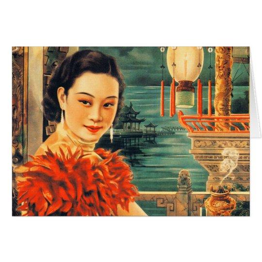 Mujeres asiáticas hermosas asiáticas de la mujer tarjeta de felicitación