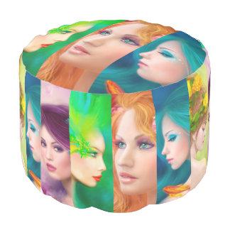 Mujeres cubicadas de la fantasía del taburete pouf