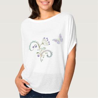 Mujeres de la flor del diamante de la mariposa del camisetas