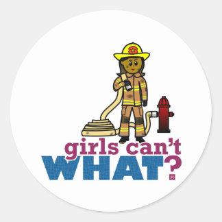 Mujeres del bombero pegatina redonda