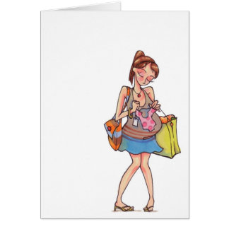 Mujeres embarazadas Notecard que hace compras Tarjeta