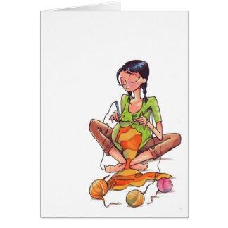 Mujeres embarazadas que cosen Notecard Tarjeta Pequeña