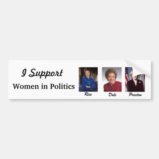 Mujeres en políticas pegatina de parachoque