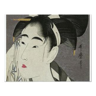 Mujeres japonesas que limpian su cara invitación 10,8 x 13,9 cm
