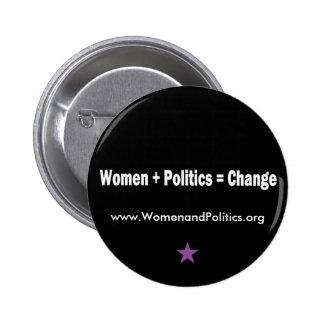 Mujeres + Política = cambio Chapa Redonda 5 Cm