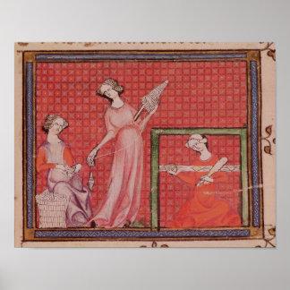Mujeres que hacen girar las lanas póster