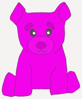 Mujeres rosadas del oso 3/4 camiseta del raglán de