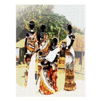 Mujeres tribales africanas del pueblo postal
