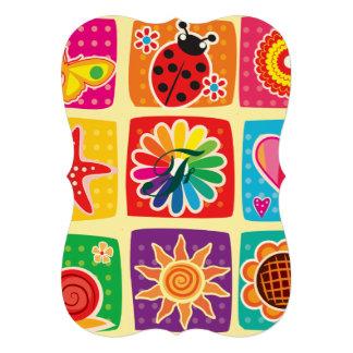 Multicolor, niños, mariposas, sol, corazones, invitación 12,7 x 17,8 cm