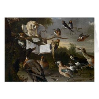 Multitud de los pájaros musicales que pintan la tarjeta de felicitación