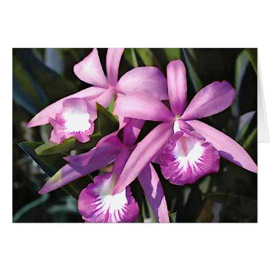Multitud de orquídeas púrpuras tarjeta de felicitación