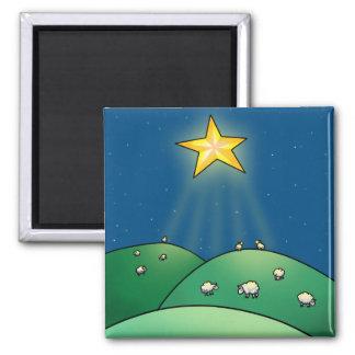 Multitud de ovejas debajo de la estrella del navid imán cuadrado