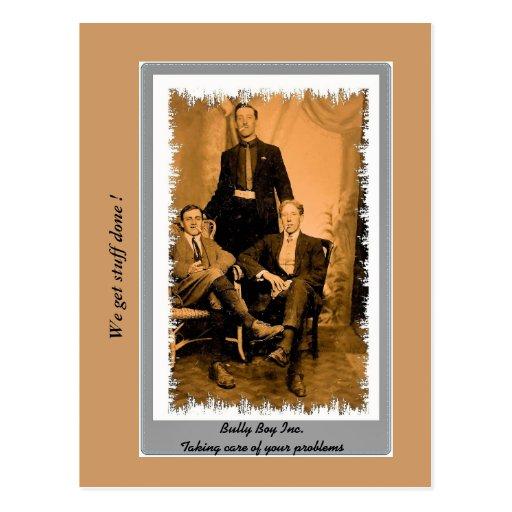 Multitud divertida del vintage, cuadrilla, foto de tarjetas postales