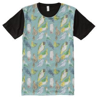 Multitud picuda de los pájaros camiseta con estampado integral