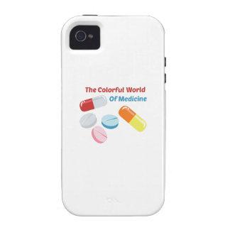 Mundo colorido de la medicina iPhone 4 funda
