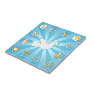 Mundo de la paz azulejo cuadrado pequeño