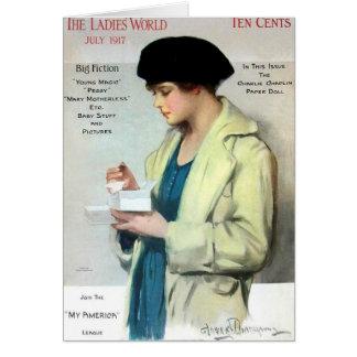 Mundo de las señoras, julio de 1917 tarjeta de felicitación