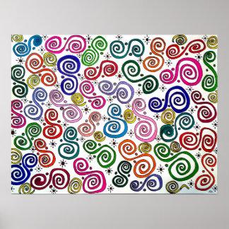 Mundo del remolino, dibujo abstracto, colores, a póster