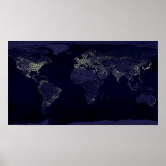 Mundo en el poster de la noche póster