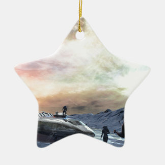 mundo gemelo del sol adorno navideño de cerámica en forma de estrella