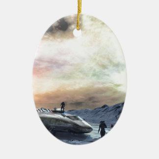 mundo gemelo del sol adorno navideño ovalado de cerámica
