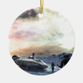 mundo gemelo del sol adorno navideño redondo de cerámica