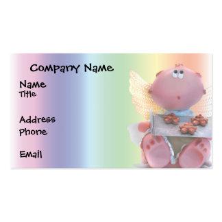 Muñeca angelical con las galletas frescas tarjetas de visita