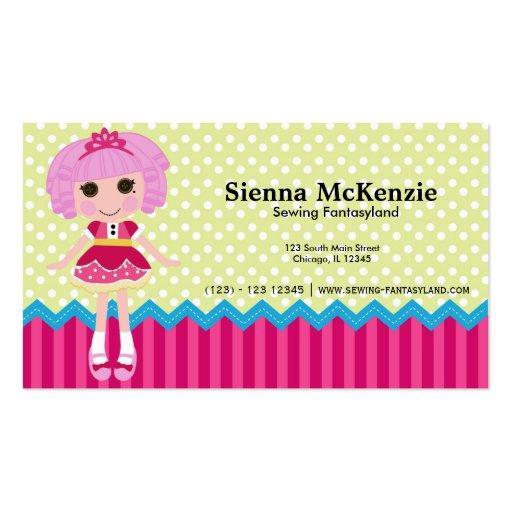 Muñeca de costura plantillas de tarjetas personales
