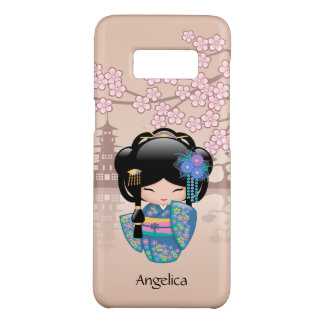 Muñeca de Keiko Kokeshi - chica de geisha azul del Funda De Case-Mate Para Samsung Galaxy S8