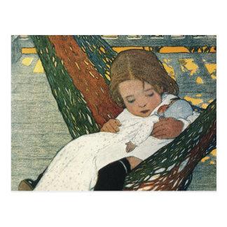 Muñeca de la hamaca del niño del vintage; Jessie Tarjeta Postal