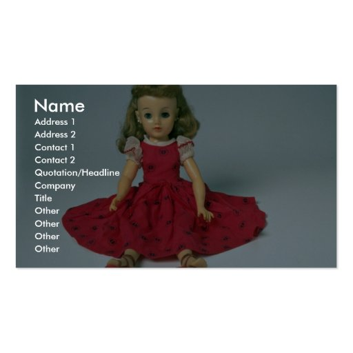 Muñeca de la niña vestida en rojo tarjetas de negocios