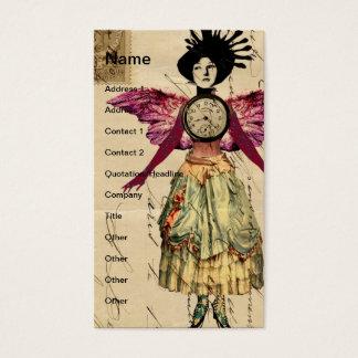 Muñeca de las técnicas mixtas con las alas rosadas tarjeta de visita