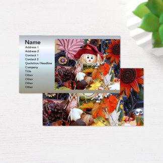 Muñeca de trapo de la acción de gracias entre tarjeta de visita