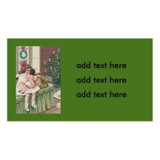 Muñeca del chica del presente del árbol de la tarjetas de visita