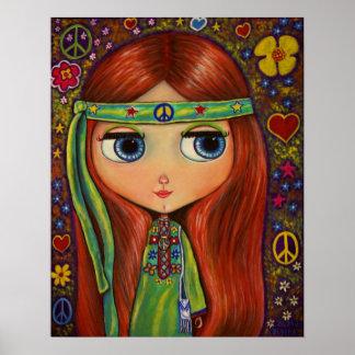 Muñeca del Hippie de la paz Poster