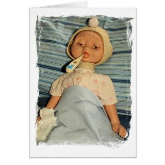 Muñeca enferma con el termómetro - consiga bien tarjeta de felicitación