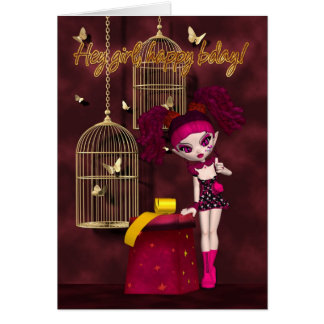 Muñeca gótica de la tarjeta de cumpleaños