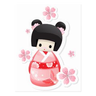 Muñeca japonesa del geisha - serie de los bollos postal