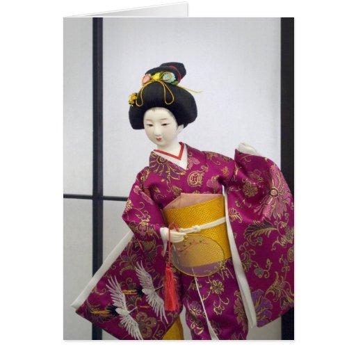 Muñeca japonesa tarjeta de felicitación