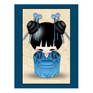 Muñeca linda de Kokeshi del japonés vestida en Postal